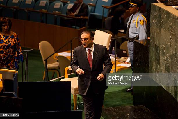 Asif Ali Zardari, President of the Islamic Republic of Pakistan, walks out to address the United Nations General Assembly on September 25, 2012 in...