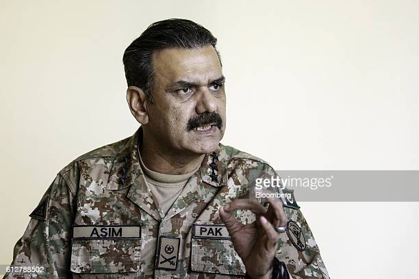 Asim Bajwa lieutenant general and directorgeneral of the InterServices Public Relations the media wing of the Pakistan Armed Forces speaks during an...