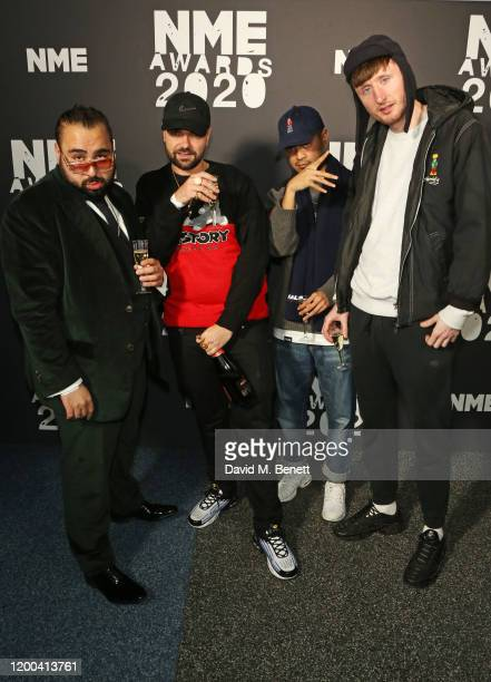 Asim Chaudhry aka Chabuddy G Allan Mustafa Daniel Sylvester Woolford and Steve Stamp of Kurupt FM pose in the winners room at The NME Awards 2020 at...