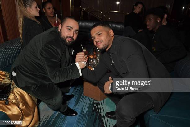Asim Chaudhry aka Chabuddy G and Kola Bokinni attend the NME Awards after party in association with Copper Dog at The Standard on February 12 2020 in...