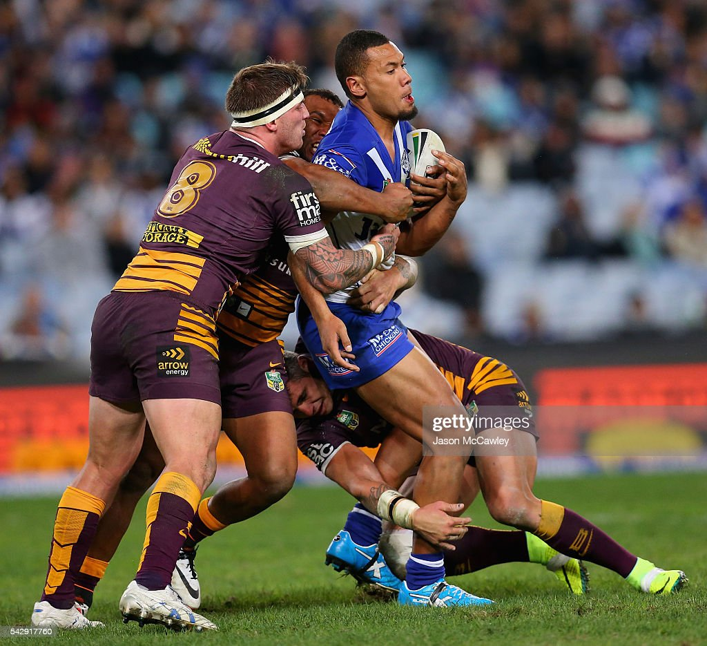 Asipeli Fine of the Bulldogs during the round 16 NRL match between the Canterbury Bulldogs and Brisbane Broncos at ANZ Stadium on June 25, 2016 in Sydney, Australia.
