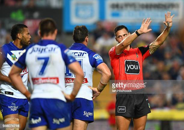Asipeli Fine of the Bulldogs is sent to the sin bin for 10 minutes during the round six NRL match between the North Queensland Cowboys and the...
