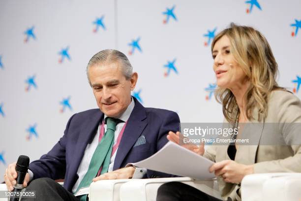 Asis Martin de Cabiedes and Begoña Gomez attend 'Ruraltivity' press conference at Caixa Forum on February 19 2020 in Madrid Spain