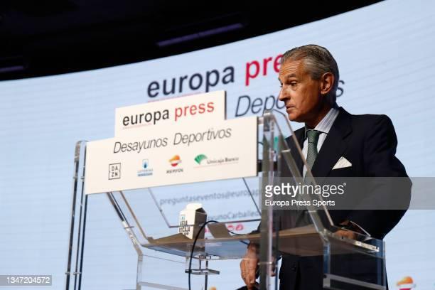 "Asis Martin de Cabiedes, President of Europa Press, attends during the Europa Press interview ""Desayunos Deportivos Europa Press"" to Miguel..."