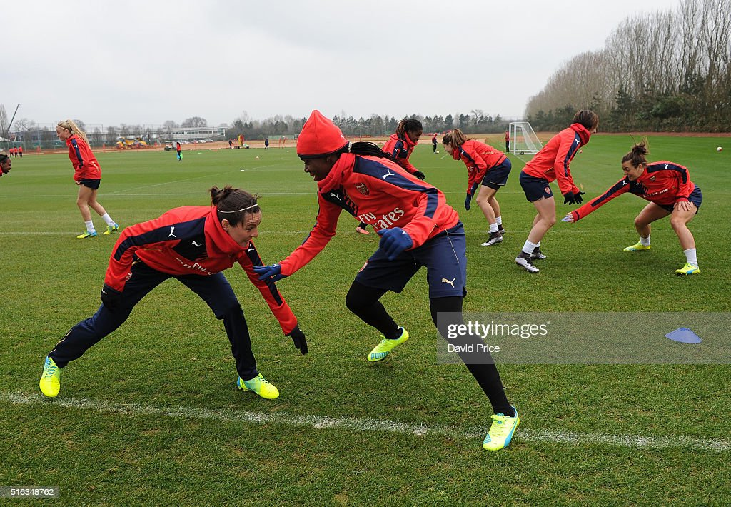 Asisat Oshoala and Natalia Pablos Sanchon of Arsenal Ladies during the Arsenal Ladies Training Session at London Colney on March 10, 2016 in St Albans, England.
