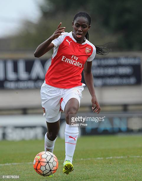 Asisat Oshoala of Arsenal Ladies during the match between Arsenal Ladies and Notts County Ladies at Meadow Park on April 3 2016 in Borehamwood England