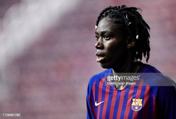 Asisat Oshoala of FC Barcelona looks on during the Liga Iberdrola match at Mini Estadi on February 13 2019 in Barcelona Spain