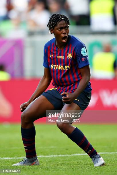 Asisat Oshoala of FC Barcelona Women celebrates scoring her sides first goal during the UEFA Women's Champions League Final between Olympique...