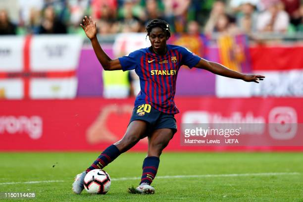 Asisat Oshoala of FC Barcelona Women scores her sides first goal during the UEFA Women's Champions League Final between Olympique Lyonnais Women and...
