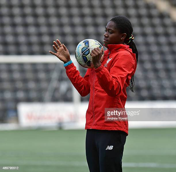 Asisat Oshoala of Liverpool Ladies in action during a training session at Select Security Stadium on September 24 2015 in Widnes England