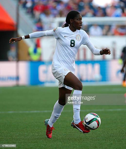 Asisat Oshoala of Nigeria against Australia during the FIFA Women's World Cup Canada 2015 match between Australia and Nigeria at Winnipeg Stadium on...