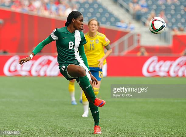 Asisat Oshoala of Nigeria against Sweden during the FIFA Women's World Cup Canada 2015 Group D match between Sweden and Nigeria at Winnipeg Stadium...