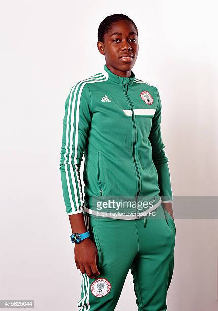 Asisat Oshoala of Nigeria and Liverpool Ladies poses during the Liverpool Ladies Women's World Cup photocall at Stobart Stadium Halton on May 7 2015...