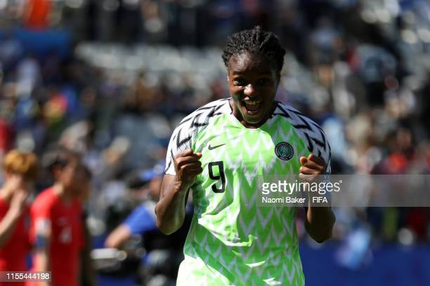 Asisat Oshoala of Nigeria celebrates following her sides victory in the 2019 FIFA Women's World Cup France group A match between Nigeria and Korea...
