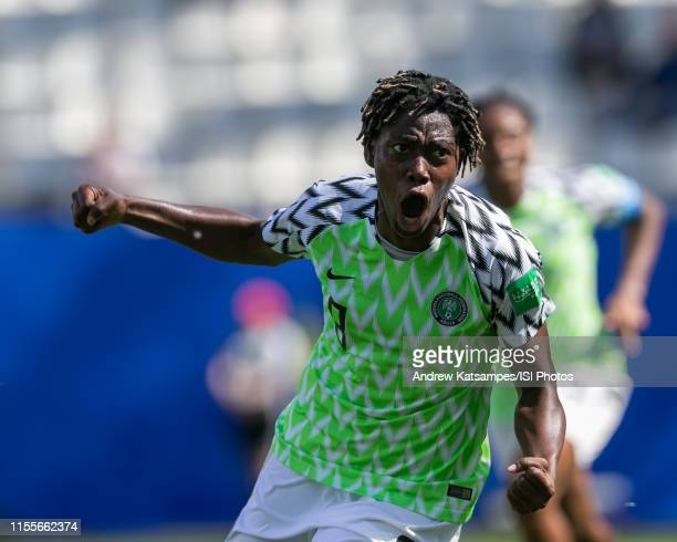 Asisat Oshoala of Nigeria celebrates scoring during the 2019 FIFA Women's World Cup France group A match between Nigeria and Korea Republic at Stade...
