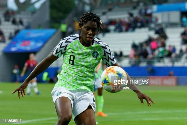 Asisat Oshoala of Nigeria controls the ball during the 2019 FIFA Women's World Cup France group A match between Norway and Nigeria at Stade Auguste...