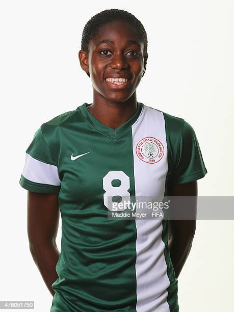 Asisat Oshoala of Nigeria during a portrait session ahead of the FIFA Women's World Cup 2015 at the Hilton Suites Winnipeg on June 5 2015 in Winnipeg...