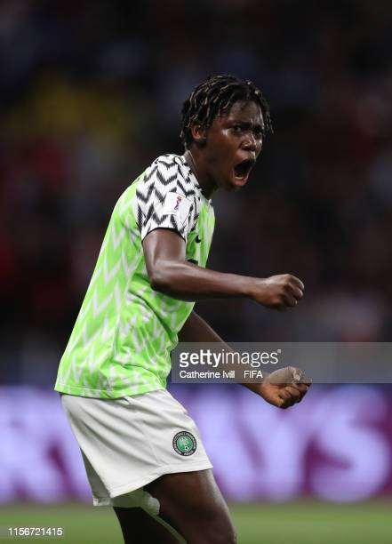 Asisat Oshoala of Nigeria during the 2019 FIFA Women's World Cup France group A match between Nigeria and France at Roazhon Park on June 17, 2019 in...