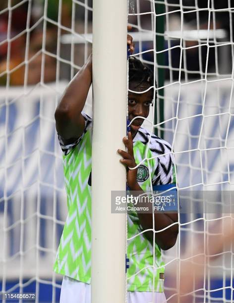 Asisat Oshoala of Nigeria reacts during the 2019 FIFA Women's World Cup France group A match between Norway and Nigeria at Stade Auguste Delaune on...