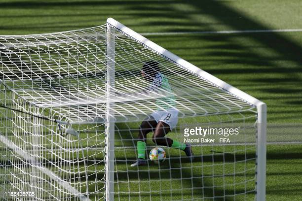 Asisat Oshoala of Nigeria scores her team's second goal during the 2019 FIFA Women's World Cup France group A match between Nigeria and Korea...