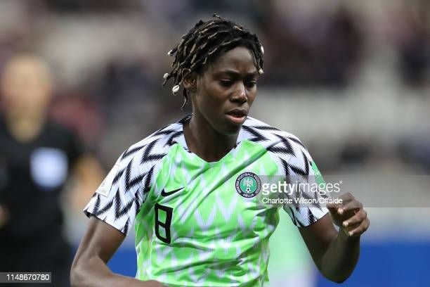 Asisat Oshoala of Nigeria with shells tied into her dreadlocks during the 2019 FIFA Women's World Cup France group A match between Norway and Nigeria...