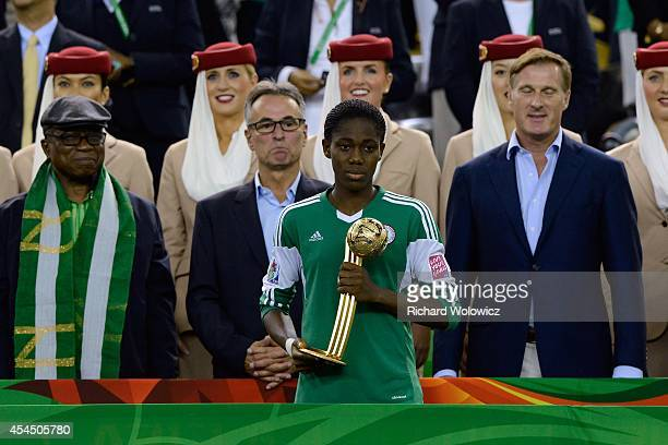 Asisat Oshoala of Nigeria with the Golden Globe Trophy during the FIFA Women's U20 Final against the Germany at Olympic Stadium on August 24 2014 in...