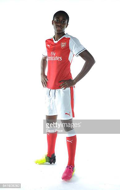 Asisat Oshoala of the Arsenal Ladies during their photocall at London Colney on June 16 2016 in St Albans England