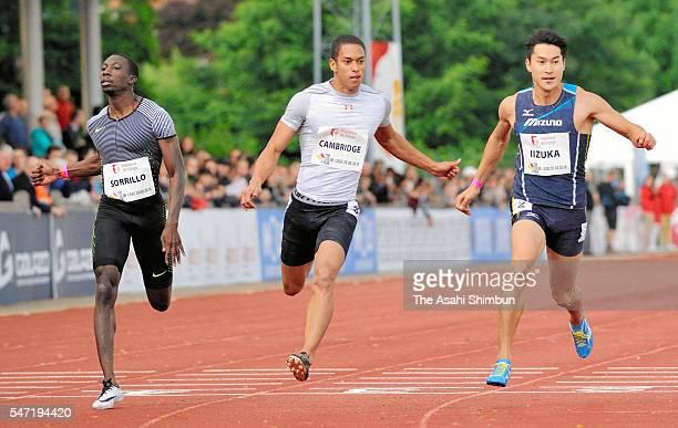 Aska Cambridge and Shota Iizuka of Japan compete in the Men's 100m during the International Meeting de Liege on July 13 2016 in Liege Belgium