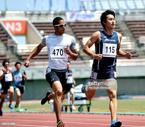 Aska Cambridge and Shota Iizuka react after the Men's 200m Heat during day two of the East Japan Industrial Track And Field Championships at the...