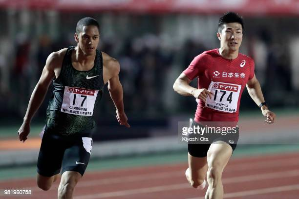 Aska Cambridge and Yoshihide Kiryu react after competing in the Men's 100m final on day two of the 102nd JAAF Athletic Championships at Ishin MeLife...