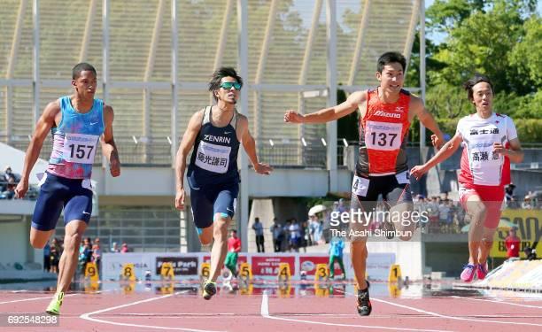 Aska Cambridge Kenji Fujimitsu Shota Iizuka and Kei Takase compete in the Men's 100m final during the Fuse Sprint at CocaCola West Sports Park on...