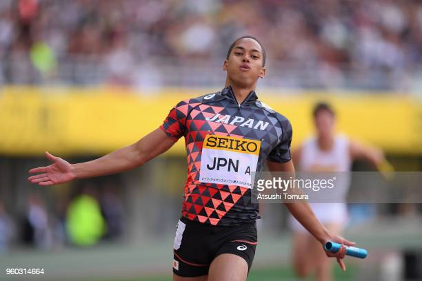 Aska Cambridge of Japan celebrates after winning the Men's x100m Relay during the IAAF Golden Grand Prix at Yanmar Stadium Nagai on May 20 2018 in...