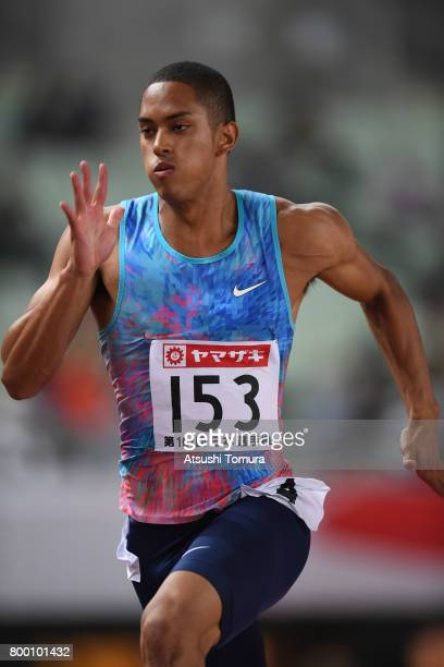 Aska Cambridge of Japan competes in the Men 100m semi final during the 101st Japan National Championships at Yanmar Stadium Nagai on June 23 2017 in...