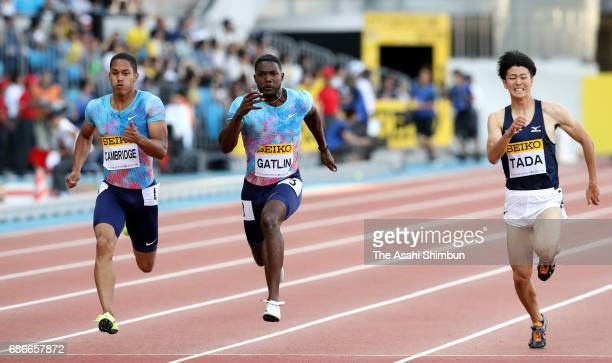 Aska Cambridge of Japan Justin Gatlin of the United States and SHuhei Tada of Japan compete in the Men's 100m during the Seiko Golden Grand Prix at...