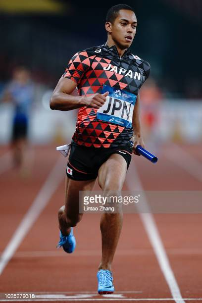 Aska Cambridge of Japan wins the final of the men's 4x100m relay athletics event on day twelve of the Asian Games on August 30 2018 in Jakarta...