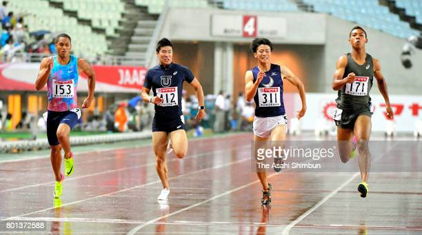Aska Cambridge Yoshihide Kiryu Shuhei Tada and Abdul Hakim Sani Brown compete in the Men's 100m Final during day two of the 101st JAAF Athletics...