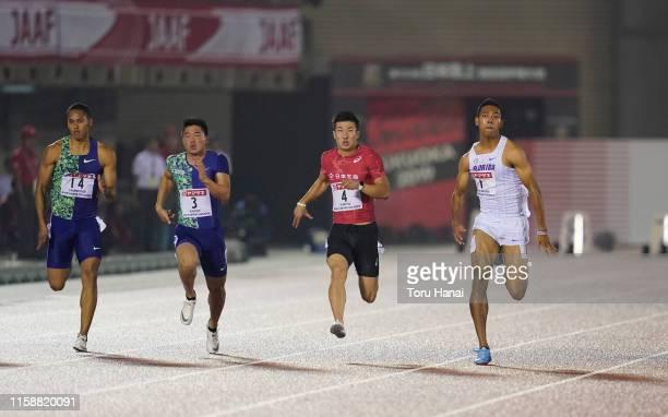 Aska Cambridge, Yuki Koike, Yoshihide Kiryu and Abdul Hakim Sani Brown compete in the Men's 100m final on day two of the 103rd JAAF Athletics...