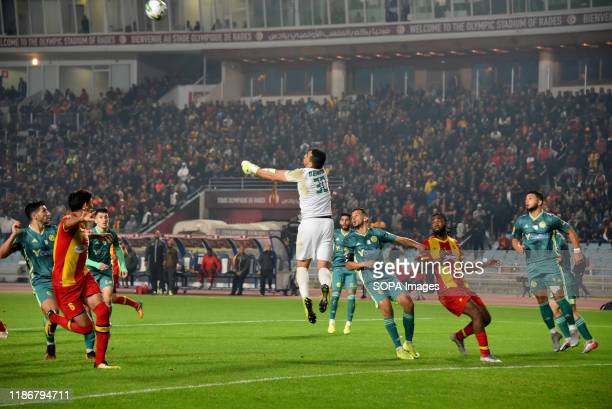 Kabylie goal keeper Abdelkader Salhi seen in action during the CAF Champions League 2019 20 football match between Esperance sportive tunisia and...