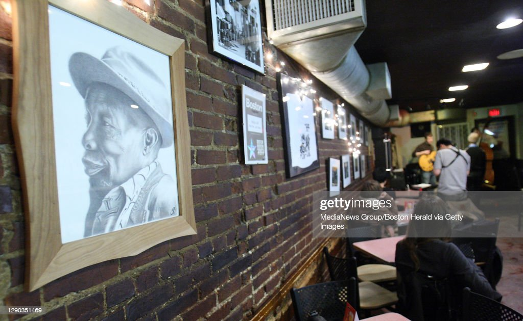 """(011809 Boston,MA) Asketch of  Joseph L. """"Wally"""" Walcott  the founder of Wally's Cafe hangs on the wall at  Wally's,  a South End jazz bar which will become a historical landmark after being granted the distinction by the Boston Historical Society, a : News Photo"""