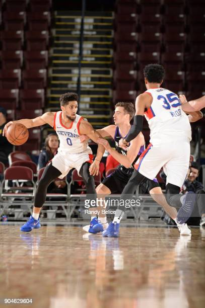 Askia Booker of the Delaware 87ers dribbles the ball against the Reno Bighorns during NBA GLeague Showcase Game 26 on January 13 2018 at the Hershey...
