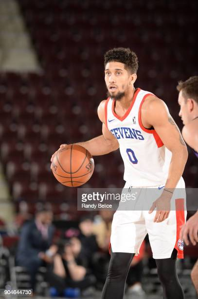 Askia Booker of the Delaware 87ers dribbles the ball during NBA G League Showcase Game 26 between the Reno Bighorns and the Delaware 87ers on January...