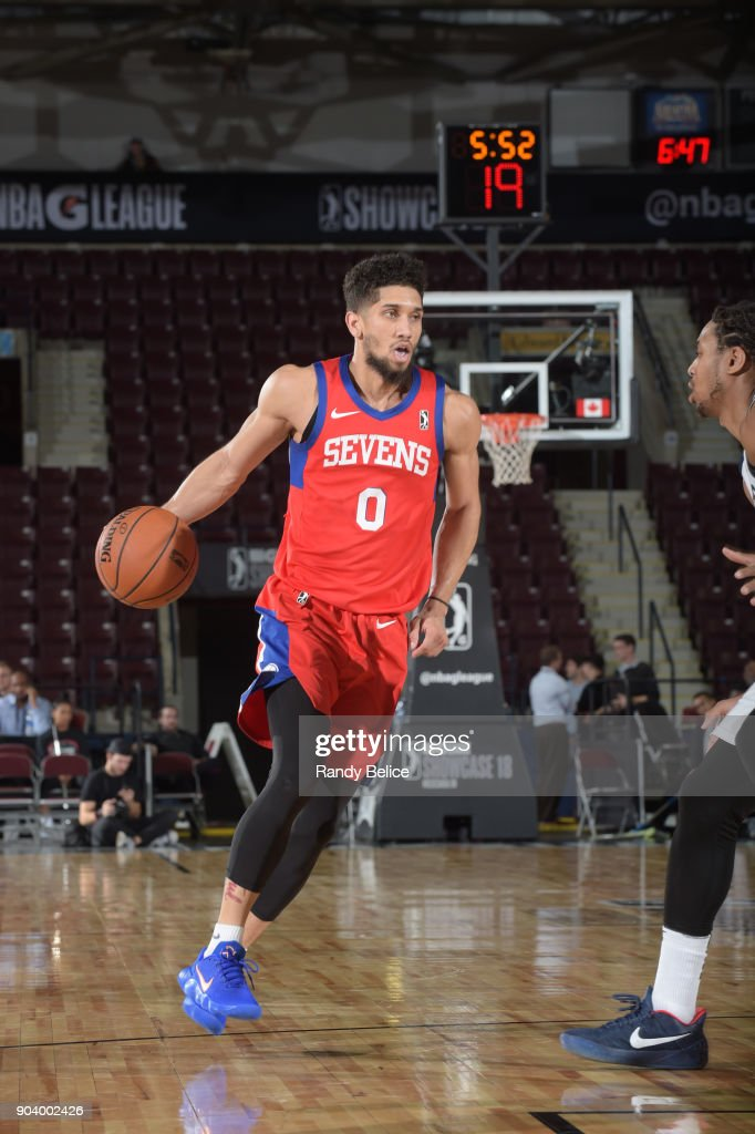 Askia Booker #0 of the Delaware 87ers handles the ball during the game against the Salt Lake City Stars at the NBA G League Showcase Game 12 on January 11, 2018 at the Hershey Centre in Mississauga, Ontario Canada.