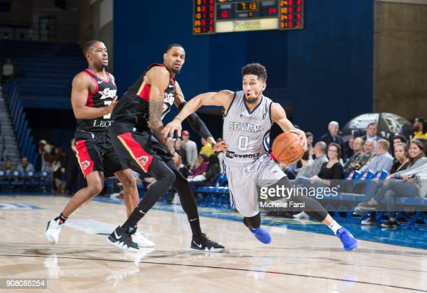 Askia Booker of the Delaware 87ers shoots against the Erie BayHawks during an NBA GLeague game on January 20 2018 at the Bob Carpenter Center...