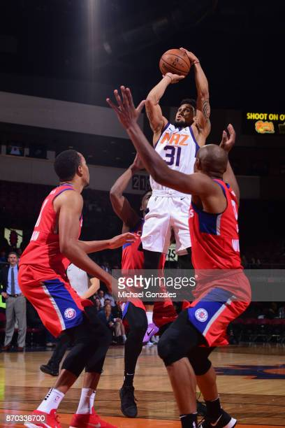Askia Booker of the Northern Arizona Suns handles the ball against the Agua Caliente Clippers on November 4 2017 at Prescott Valley Event Center in...