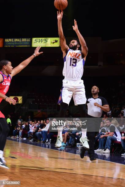Askia Booker of the Northern Arizona Suns shoots the ball against the Agua Caliente Clippers on November 4 2017 at Prescott Valley Event Center in...