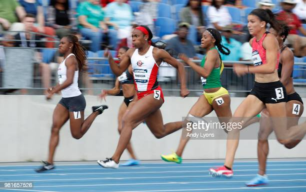 askley Henderson runs to victory in the semifinals of the Womens 100 Meter during day 2 of the 2018 USATF Outdoor Championships at Drake Stadium on...