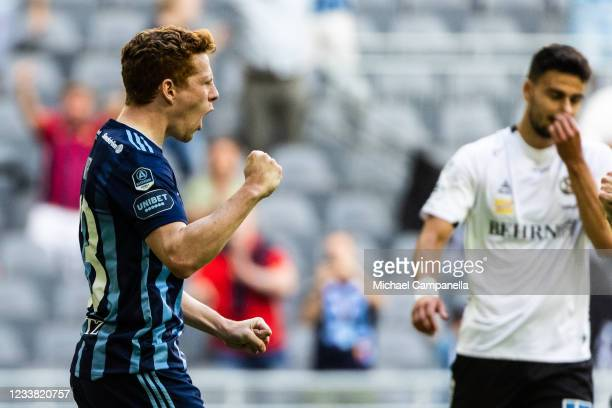 Aslak Witry of Djurgardens IF celebrates scoring a penalty during the Allsvenskan match between Djurgardens IF and Orebro SK at Tele2 Arena on July...