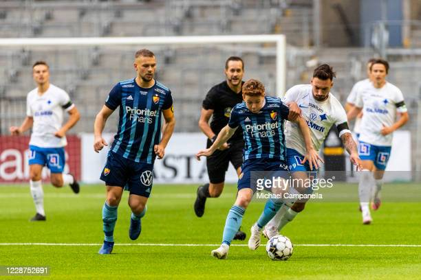 Aslak Witry of Djurgardens IF in a duel with Sead Haksabanovic of IFK Norrkoping during the Allsvenskan match between Djurgardens IF and IFK...