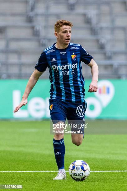 Aslak Witry of Djurgardens IF runs with the ball during the Allsvenskan match between Djurgardens IF and IFK Goteborg at Tele2 Arena on May 23, 2021...
