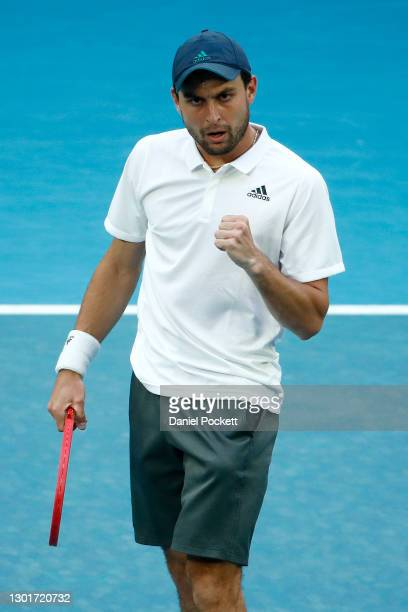 Aslan Karatsev of Russia celebrates a point in his Men's Singles third round match against Diego Schwartzman of Argentina during day five of the 2021...